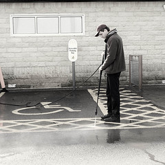 261 of Year 4 - Jet washing (Hi, I'm Tim Large) Tags: guy man lad mcdonalds car park parking space lot disabled clean cleaning wash washing jet pressure hose dirty mcd 261 365 fuji fujifilm xf xpro2 35mm f14 portishead accessible bay