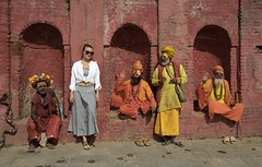 The Party Crasher of Kathmandu (Film) (Harald Philipp) Tags: nepal nikon f6 portra 160 film analog shaman templecomplex kathmandu sadhu holyman temple pashupatinath hindu hindi hindisadhu 35mm coolscan woman