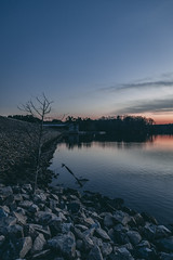 falls lake-6630 (spencer Hart Photography) Tags: sunset northcarolina raleigh canon exposrue explore lake dam rocks river lightroom adobe flow still usa nature outdoors