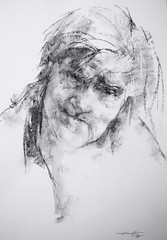 P1017594 (Gasheh) Tags: art painting drawing sketch portrait old woman charcoal pencil gasheh 2018