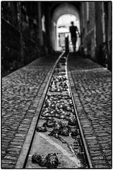 Dans les étroites ruelles de Ljubljana ! (bertranddorel) Tags: slovénie bokeh ljubljana balkans europe bnw bw nb bn noiretblanc blancetnoir blackandwhite contrast lumière light human personne personnage humain homme man street streetphoto rue mono sombre caniveau ruelle nikon nikkor d7000 50mm silhouette noir