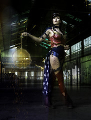Wonder Woman - DSC08302-7g (cleansurf2 - Portrait portfolio) Tags: wonderwoman cosplay costume colour color character cinematography cool costuming cinematic comic urbex portrait people pretty performer photography play pose outfit ilce6000 young theme theater roleplay rustic emount edgy woman wallpaper warrior warehouse abandoned sexy sony drama dark deadly figure female face girl light lowkey model natural beautiful beauty black background vivid vibrant colorful explore