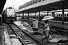 Crossing the Tracks (anthonypond) Tags: yangon burma bw myanmar trainstation leicam10 50mmsummilux