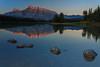 Conceptually Blind (Zur@imiAbro@d) Tags: canada banffnationalpark alberta landscape mountain twojacklake sunrise light peaks mountrundle reflections lake rocks steppingstones polarizer zurimiabrod