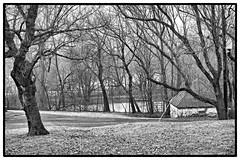 the pond and spring house (Tony_Roman_Photography) Tags: leica m typ 240 elmar 50mm bw landscape anthonyproman photography