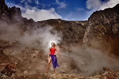 Reykjadalur (LalliSig) Tags: fashion bikini swimsuit iceland summer june reykjadalur model smoke steam orange red blue