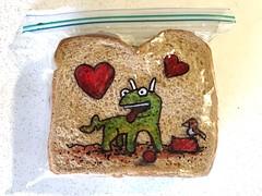 Love Your Pet Day (D Laferriere) Tags: red heart ball bird kritzels pet love attleboro laferriere sandwich bag art sharpie