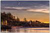 Jet Stream and the Ligthhouse (spawc) Tags: lighthouse goldenhour sunrise winter canon6dmarkii outdoor rural britishcolumbia seascapes beach clouds driftwood canon pink golden nopeople sky canada landscape yellow coastal sea colwood ca
