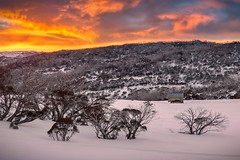Warm Light Cold Morning    PERISHER    AUSTRALIA (rhyspope) Tags: australia aussie nsw new south wales perisher valley snow snowy mountains rhys pope rhyspope canon 5d mkii sunrise sunset cold winter wonderland clouds sky color colour trees hut ice