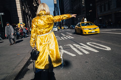 Fifth Avenue, 2018 (mathiaswasik) Tags: nyc newyork usa fashion week 2018 woman cab taxi yellow gold street