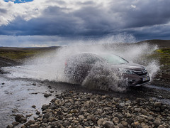 Driving on the F26 in Iceland (lloydlane) Tags: iceland 4x4 f26 driving ford river water splash moody car