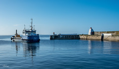 Selkie leaves the Broch (Tom McPherson) Tags: seascape digger fujifilm 23mm camera scotland explore industrial industry moray fishing blue waves calm water harbour ship boat dredger sea selkie