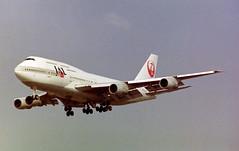 JA813J Boeing 747-346 Japan Airlines (corkspotter / Paul Daly) Tags: ja813j boeing 747346 b743 23068 589 l4j gjhm 86d24c jal jl japan airlines 1983 19980611 n213jl 2010 n818sa lhr egll london heathrow negative scan