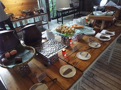 Breakfast Indonesian Style (sean and nina) Tags: green host eco hotel yogya yogja yogyakarta indonesia indonesian south east asian asia conrete metal plants shrubs accommodation architecture tourism tourist february 2018 spring travel vacation windows breakfast food buffet meal layout juice fruit eggs bread hot cold eat eating dishes wood wooden floor light cooked uncooked