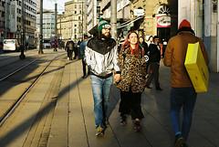 Shiny & Furry (Mister Oy) Tags: manchester street people kodak colorplus nikonf100 fil 35mm 50mm light shadow walking shiny furry