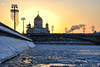 Winter Sunset Behind Christ the Savior Cathedral (Guide, driver and photographer in Moscow, Russia) Tags: bolshoykamennybridge christthesaviorcathedral cityscape ice moscow moscowcityscapes moskva moskvariver orthodoxcathedrals russia sofiyskayaembankment sunsets winter cathedrals churches ru