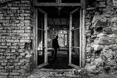 The Ghost in the Fort (Gilderic Photography) Tags: chartreuse liege belgium belgique fort urbex window silhouette man ghost wall brick decay dark canon 500d monochrome bw nb