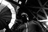 o pai e o paraugas na torre (davidvazquez) Tags: streetphotography man umbrela blackandwhite tower
