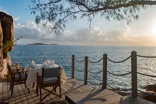Candle light dinner next to the sea, Praslin Seychelles