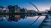 Samuel Beckett bridge at blue hour (shotbymaguire) Tags: dublin water river bridge blue hour light sunrise reflection ireland travel photography photo samuel beckett convention centre