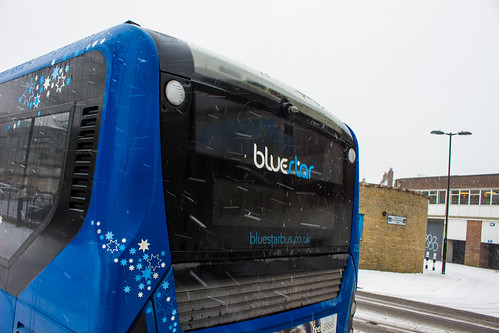 Enviro 200 MMC in Bluestar's livery operating in Southampton during a snow storm