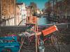 Painterly day in Bruges (babs van beieren) Tags: brugge bruges belgium citytrip bike painting canal bridge mycity water