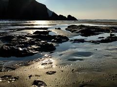 Perranporth (Purple Tomato Images) Tags: iphoneography iphoneart iphonepics clifss reflections sunset beautifullight cornishcoast kernow cornwall coast rockpools sunlight beach