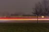 Foggy Light Trails (Alex Wilson Photography) Tags: fog foggy light trail trails long exposure longexposure shutter open street streets road roads generator power generators tree trees greenery green bush bushes flash bright white loud quiet cool