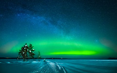 aurora pano (juhwie.foto - PROJECT: LEIDENSCHAFT-LICH-T) Tags: finland finnland finlandia aurora northern lights trees snow winter frost lake frozen scandinavia saija saijalodge milkyway stars landscape landscapephotography pentax pentaxart ngc ricohimaging k1 1530 nature miracle nightshoot nightscape