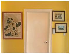 Artwork on a Sunny Yellow Background IMG-9487 (soniaadammurray - Off) Tags: iphone yellow sunnyyellow smileonsaturday wall artwork door colours art artchallenge interior