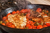 My Lunch 1 (LongInt57) Tags: food fish sole filet fillet cherry tomatoes tomato green beans haricot steam frying pan cast iron hot cooking stove range electric black red orange brown seasoning pepper
