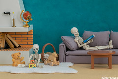 Peaceful sunday afternoon (EatMyBones) Tags: figurine home miniature poseskeleton rement skeleton toy toyphotography