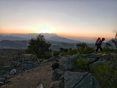 Sunset and camp spot on the way up Jebel Shams.