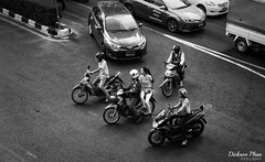 The motorcycle club (gunman47) Tags: 2017 asia asian b bw bangkok christmas december east mono monochrome sepia siam south thai thailand w black club motorbike motorcycle passenger people photography rider street student traffic uturn white krungthepmahanakhon