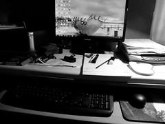 Work Station (amy's antics) Tags: desk monitor rubbish keyboard mouse paper printer scanner camera tapemeasure rubbon pens pencil pad bulldogclip inkcartidges chocolate poppy wah wearehere