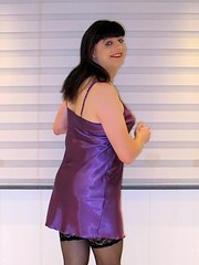 Purple Paula (Paula Satijn) Tags: sexy hot girl gurl tgirl purple satin silk silky shiny nightie chemise nightdress dress smile happy joy fun bum ass sweet cute