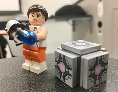 Chell and Companion Cube in Classroom (westhl) Tags: portal lego legos minifigures minifig minifigure valve companion cube dimensions video games game chell atlas pbody glados wheatley