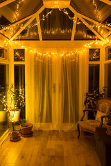 Fairly Lit Conservatory (elliotlambell) Tags: fairylights indoors architecture inside night dark conservatory warm warmth interior reflections cosy