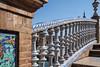 Exhibition Palace Seville, Spain (Marian Pollock) Tags: europe spain architecture detail exhibitionpalace seville tiles bridge ballustrade ceramic steps archway sky espana