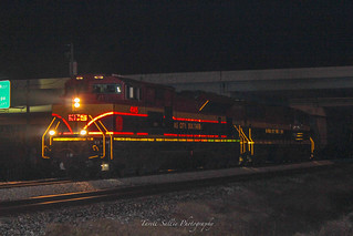 CSX K423 with a pair of KCS for power at Plant City, FL in the early morning hours of 1-19-18