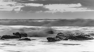 Black and White Sunrise Seascape with Big Surf