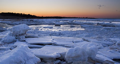 The Mouth of Paine's Creek - Iced Over (brucetopher) Tags: ice iceberg icy cold winter frozen freezing freeze estuary beach saltwater sea ocean bay sunset white snow seaice iceflow river creek brook water afterglow evening twilight glow