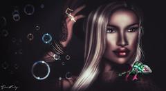 Larry (Dawn Marley) Tags: sl secondlife portrait makeup chameleon pets bubbles lipstick colors tattoo piercings digital blondes
