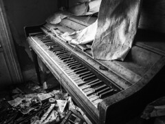 the keys have fallen silent...(at the house at 7 winter avenue) (Aces & Eights Photography) Tags: abandoned abandonment decay ruraldecay oldhouse abandonedhouse oldpiano abandonedpiano