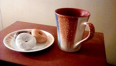 Cup of coffee and mini donuts! 365/109 (Maenette1) Tags: coffee cup donuts plate menominee uppermichigan flicker365 michiganfavorites project365