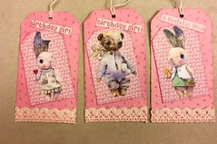 3 tags for a girl swap (CraftyBev) Tags: girl lace collage inking embossing swap tags