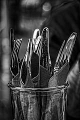 cutlery (Kati471) Tags: cutlery besteck messer gabel sw bw knife fork glas glass monochrom blackwhite napkin serviette