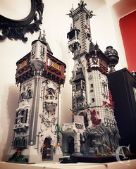 Unfinished towers:Left - Tower of the SatyrRight - Tower of the Raven (✠ Corvus Auriac MOCs ✠) Tags: castle tower gothic lego brick building twins dark moc corvus design