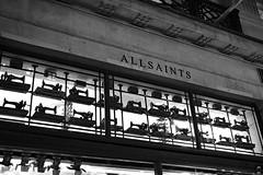 AllSaints (Canadian Pacific) Tags: england english unitedkingdom britain british great oxfordcircus regentstreet night photo shot image 2016aimg1907 bw allsaints shop store window sewing machines machine