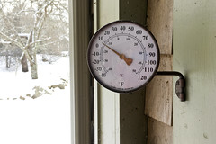 Early Morning, New Year's Day: Bitter COLD! (brucetopher) Tags: snow cold winter frigid freezing icy dusting snowcover north northern newengland frozen thermometer singledigits farenheight celcius analog arrow brass wall downspout porch doorway